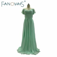 Cheap Elegant Wedding Party Bridesmaid Dresses Long Mint Green Chiffon Off The Shoulder Bridesmaid Gowns Robe