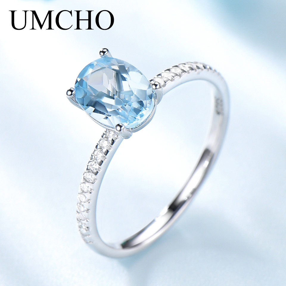 UMCHO Genuine 925 Sterling Silver Gemstone Engagement Jewelry for Women Sky Blue Topaz Birthstone Oval Solitaire Stacking Ring