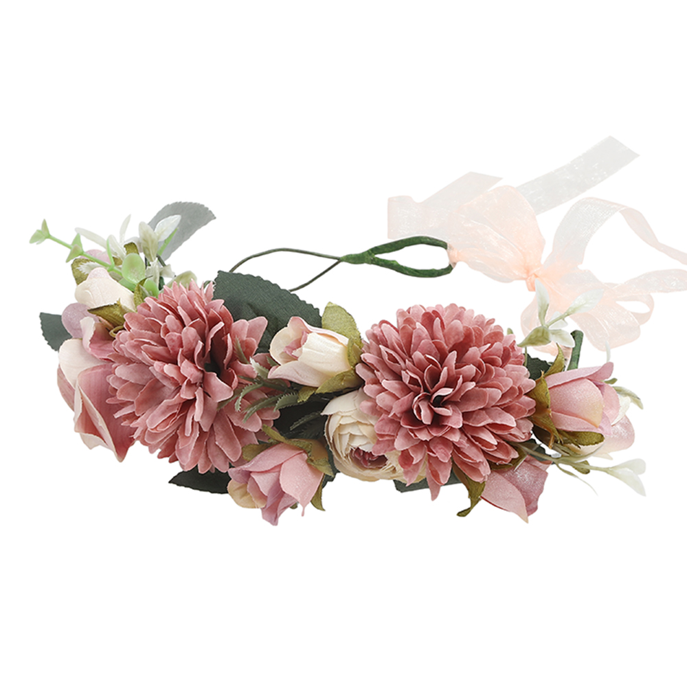 Haimekang Women Wedding Floral Crown Head Band Floral Head Wreath Flower Headband Bridesmaid Bridal Garland Forehead Hair Band