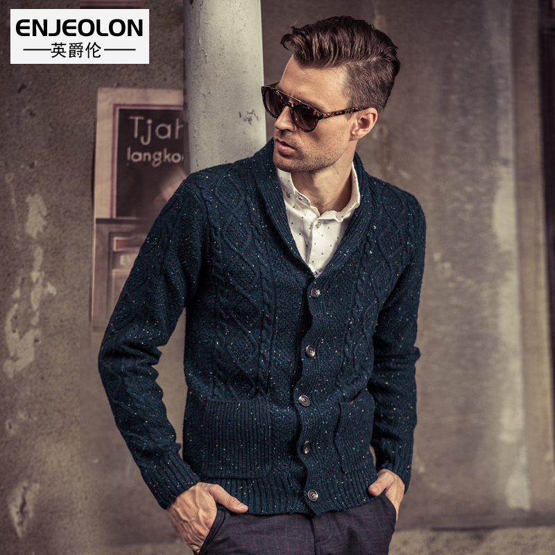 Enjeolon brand winter knitted cardigan Sweater men plus size 3XL clothes male Cotton dot solid color Sweater for men M2020
