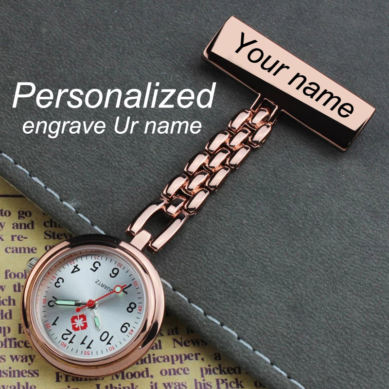 Brooch Fob Engraved Lapel-Pin Nurse-Watch Rose-Gold Stainless-Steel Customized Your-Name