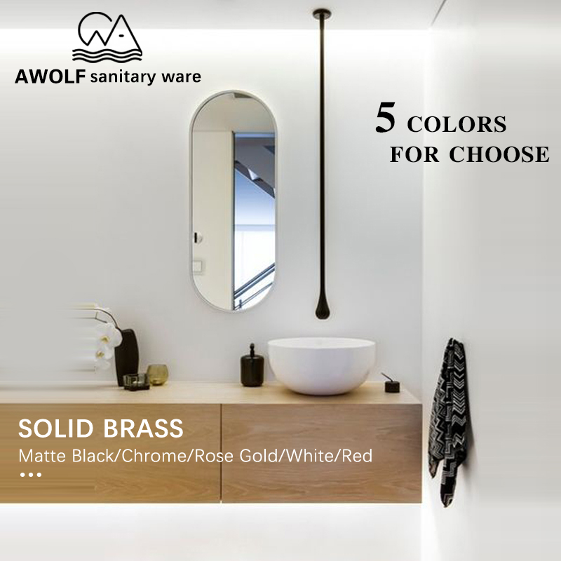 Bathroom Hang Ceiling Basin Faucet Bathtub Spout Tap Solid Brass Wall Mounted Black Chrome Gold White Rose Gold Mixer Tap ML8047