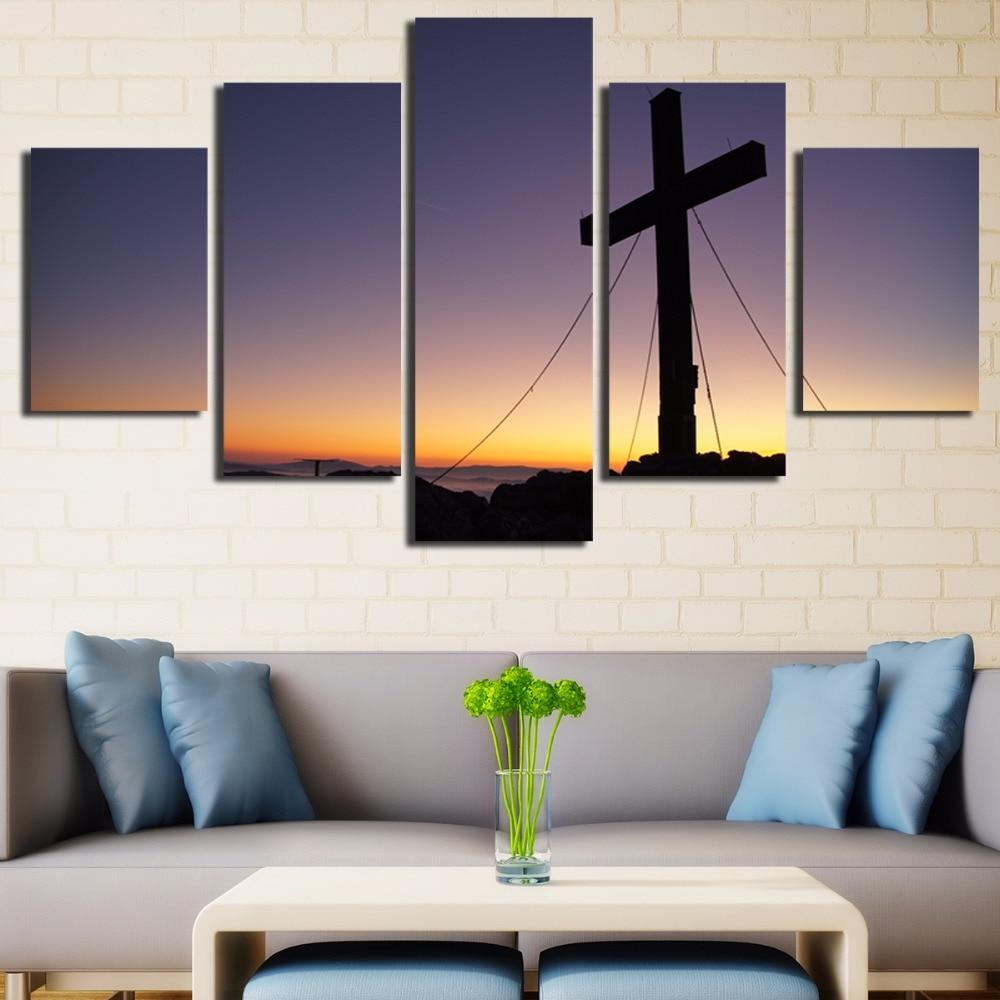 5 Panels Christian Church Cross Wall Art Picture Home Decor Living ...