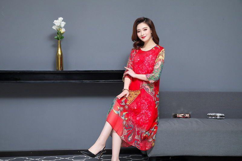 Oriental Style Women Summer Dresses Black Red Ethnic Check Pattern Chiffon One Piece Vestidos Half Sleeve O-neck Silk Dress Woman (15)