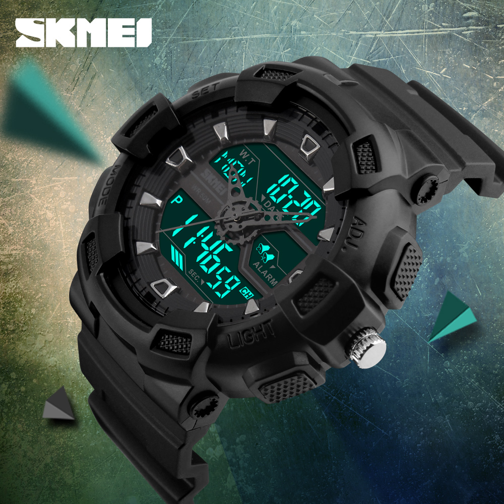 SKMEI Digital Watch Men Multifunction Waterproof LED Military Sports Watches Dual Time Analog Digital Casual Men Wristwatches skmei 1049 50m waterproof solar dual movement dual time zone men s sport watch black blue