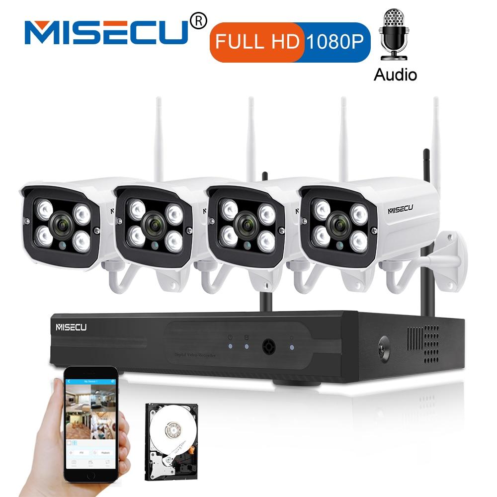 MISECU Plug and Play 4CH 1080 p HD Wireless NVR Kit P2P 1080 p 2MP Indoor Outdoor Macchina Fotografica di Registrazione Audio impermeabile del CCTV di WIFI Sistema