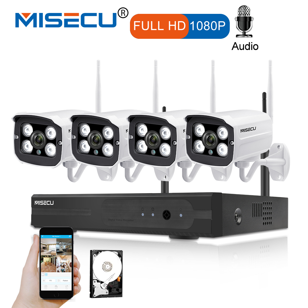 MISECU Plug and Play 4CH 1080P HD Wireless NVR Kit P2P 1080P 2MP Indoor Outdoor Camera Audio Record Waterproof CCTV WIFI System misecu easy installation plug play 2 4g wifi kit 720p 1080p vga hdmi 4ch nvr wireless p2p 720p wifi ip camera waterproof cctv