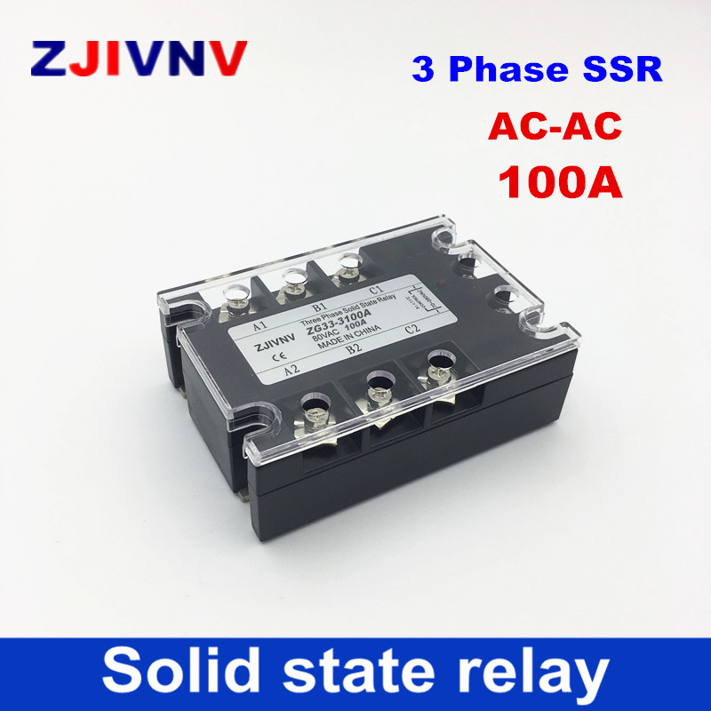 New brand! High quality AC-AC 100A three-phase solid state relay 80-250VAC control 90~ 480VAC 3 Phase SSR free shipping free shipping 2pc 100a industrial single phase ac dc ac single phase solid state relay 100a zyg d48100 dc control ac 100a
