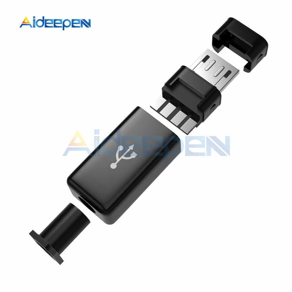 5 Juegos de conectores macho Micro USB DIY Kit conector macho con cubiertas negras