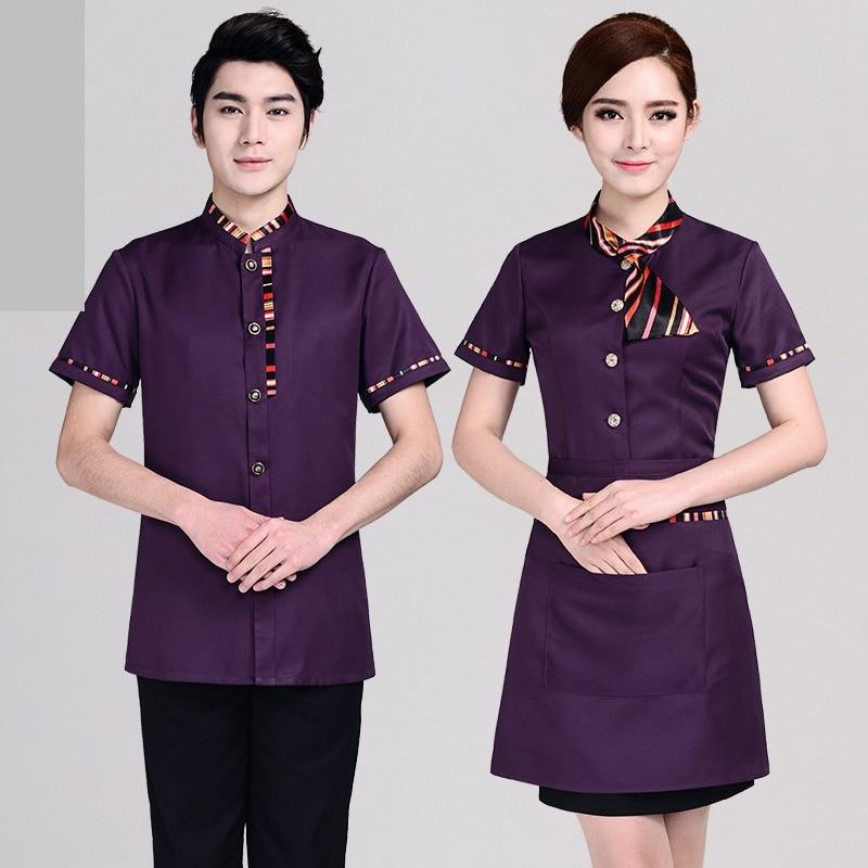 Hotel Uniform Women's Short Sleeved Restaurant  Hotel Attendant Summer Dress Hot Pot Restaurant  Front Office Suite