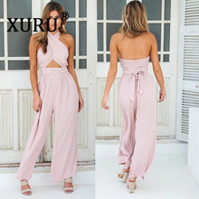 цена на XURU summer new cross-neck jumpsuit sexy backless fashion wide-leg pants jumpsuit jumpsuit
