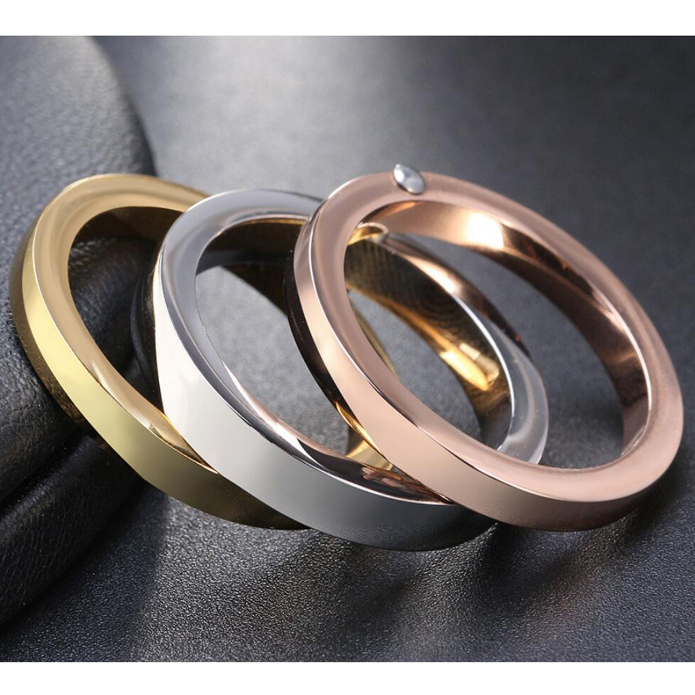 NIBA High Quality 3 Pieces/Set Rose Gold/Silver Color Titanium Steel Rings For Women Jewelry Anniversary Ring Set 6