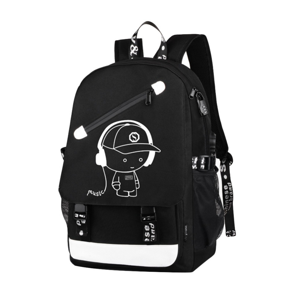Korean Style Leisure Flip Luminous USB School Backpack for Computer with USB charging interface waterproof high-quality