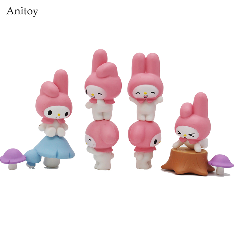 Anime Cartoon My Melody Cute Bunny Series Melody Mushroom PVC Figure Collectible Model Toy 1-4cm