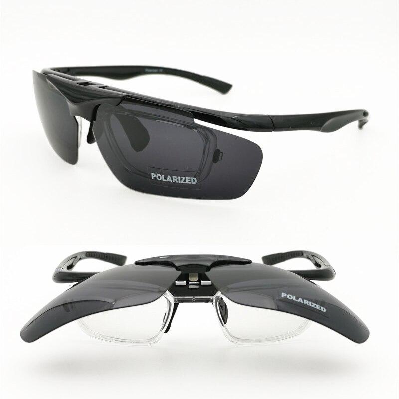 sports flip up polarized sunglasses 4 degrees bending UV400 anti-slip rising sport glasses with prescription inner lenses
