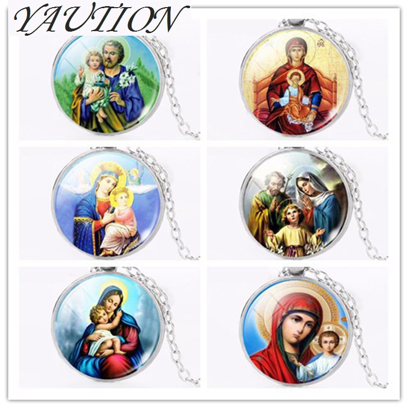 YAUTION Wholesale Virgin Mary Mother of Baby Necklace Jesus Christ Christian Jewelry Glass Photo Necklace Gift For Men Women