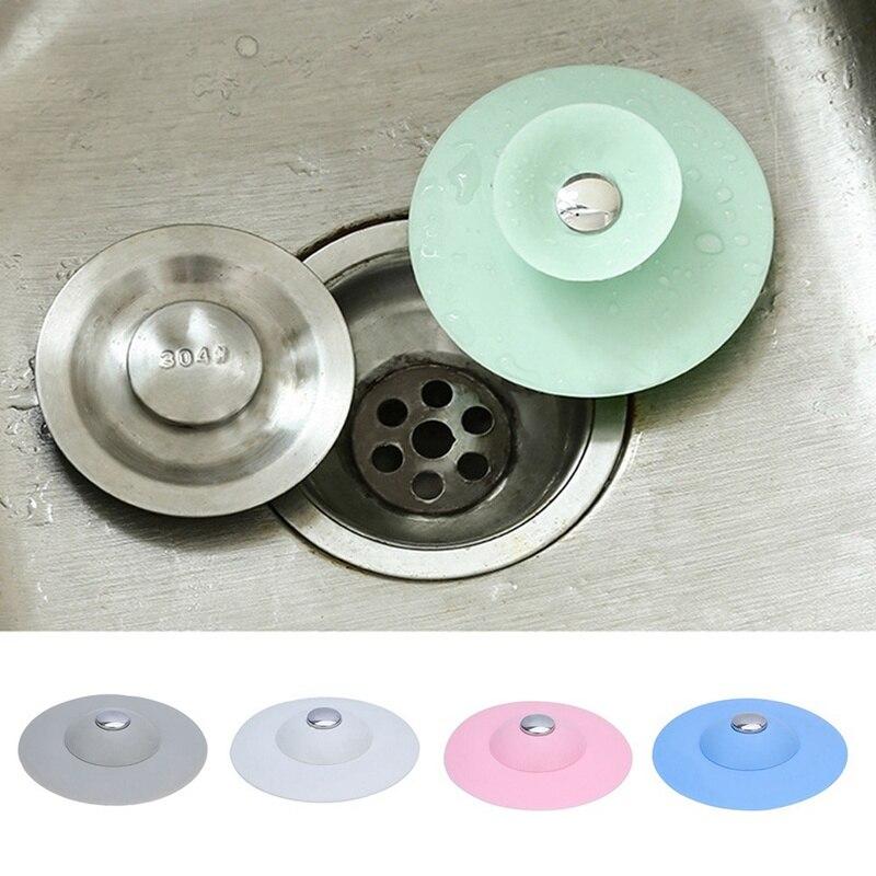 1pc Kitchen Press Bounce Closed Silicone Floor Drain Bathroom Deodorant Anti-clogging Plastic Sink Filter Drain Core