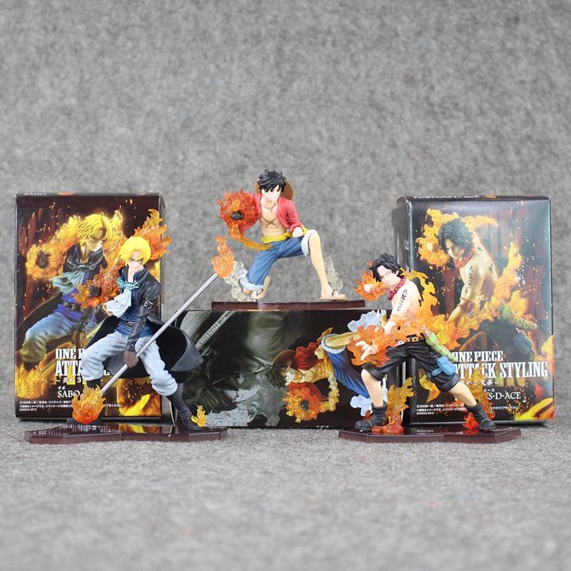 9-14cm 3Pcs/Lot New Hot Japan Anime <font><b>One</b></font> <font><b>Piece</b></font> DXF Luffy Ace Sabo <font><b>PVC</b></font> <font><b>Action</b></font> <font><b>Figures</b></font> Collectible Model <font><b>Toys</b></font> For Kids