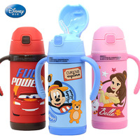 Disney 2018 New Cartoon Animation Stainless Steel Thermos Cups Children 3D Plastic Pattern Straw Cups Dual