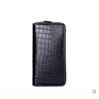 gete 2019 new Import crocodile belly wallet men long zipper hand bag fashion luxury handmade crocodile leather men clutch bag