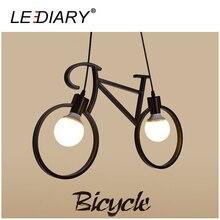 LEDIARY Novel Bicycle Shape Iron Pendant Lamp 85-220V E27 Holder Art Hanging Lamp Droplight Black Painting Vintage Lighting