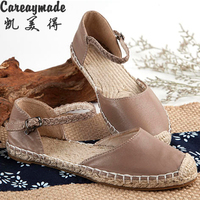 New 2016 Pure Handmade Weave Genuine Leather Shoes Women Leather The Retro Art Mori Girl Shoes