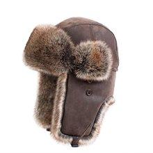 Bomber Hats Faux Rabbit Fur Russian Ushanka Vintage PU Leath