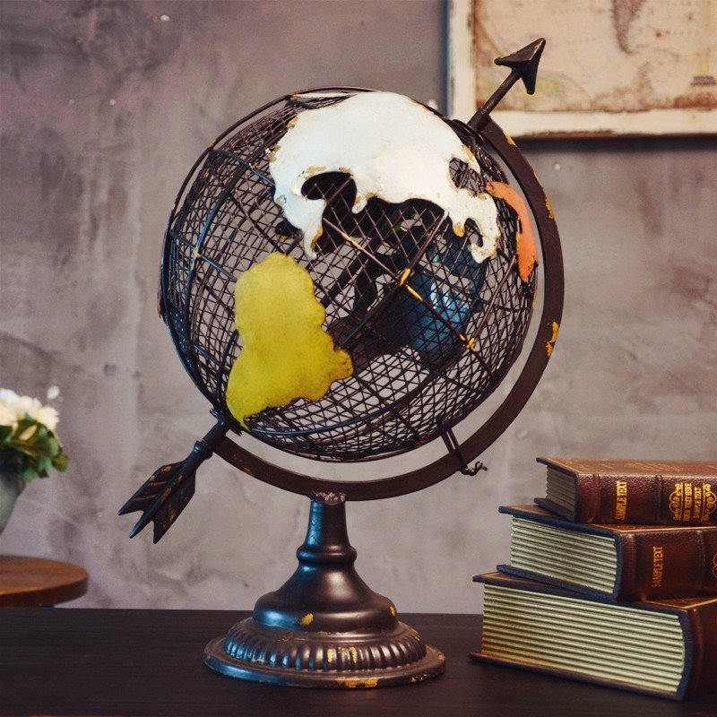 American Retro Metal Art Globe Model Toys Ornament Home Furnishing Soft Outfit Decoration Office Coffee Shop Display Props Gift