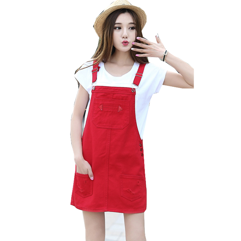 729b274ae9 Detail Feedback Questions about White black red Women student short denim  jeans dress 2017 female loose strap overs dresses vestidos 50 on  Aliexpress.com ...