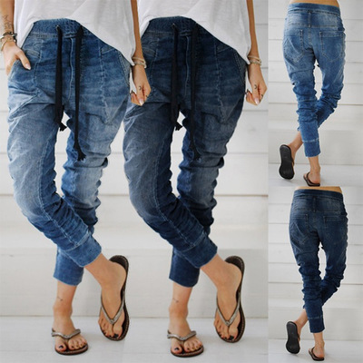 Women Denim Jeans Elastic Waist Bandage Harem Pants Plus Size Washed Jeans