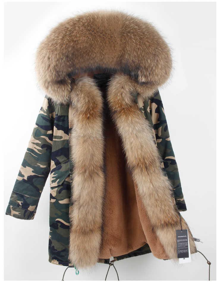Marke 2019 Echt Pelzmantel Winter Jacke Frauen Lange Parka Große Waschbären Pelz Kragen Mit Kapuze Parkas Dicke Warme Oberbekleidung Streetwear