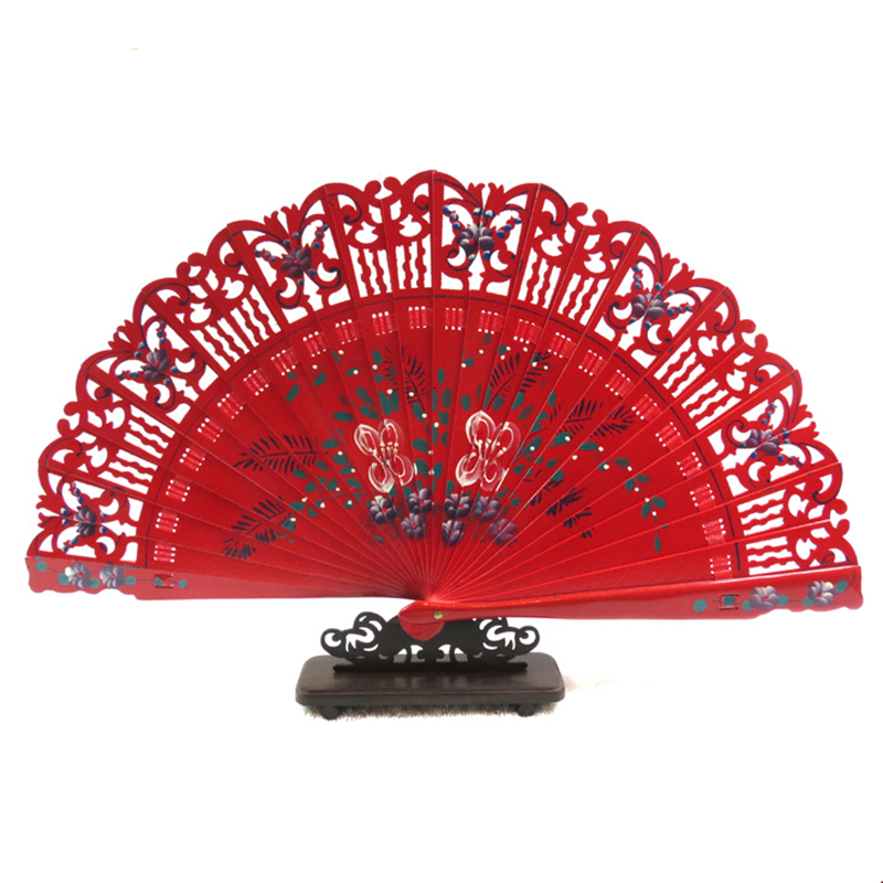 Hot Sale Spanish Old-Fashioned Wedding Dress Decorated Hand-Painted Folding Wooden Hand Fan Dance Performance 39