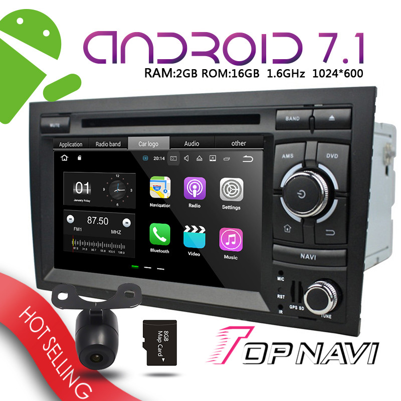 Car Navigator 7 Android 7.1 for Audi A4 2002-2008 Topnavi Automotive PC Media GPS Plug&Play Bluetooth Device wifi Multimedia