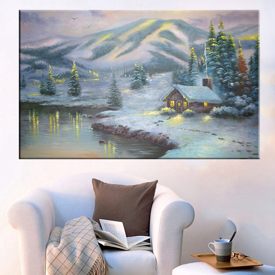 Hot Sale Thomas Kinkade Giclee Prints Reproduction Winter House by Mountain Painting Canvas Waterproof Unframed Wholesale