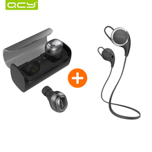 QCY Q29 3D stereo earphones mini wireless headphone bluetooth 4.1 noise canceling earbud and QY8 sports APTX headphone headset