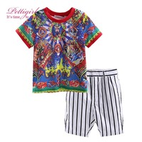 Summer Style Handsome Print Boys T-Shirt And Stripe shorts Children Baby Kids Clothing Set CS90315-10L