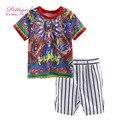Pettigirl verão conjuntos de roupas infantis meninos com impressão mangas curtas t-shirt e calções tarja crianças bebê roupas cs90315-10l