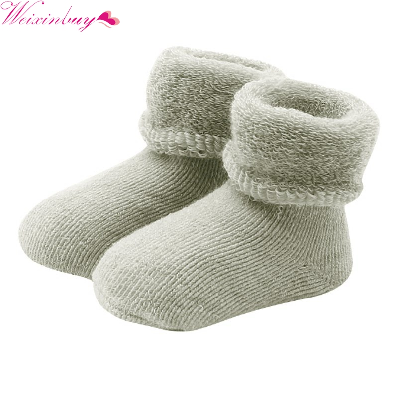 New 0-2 Y Baby Girls Boys Born Infant Winter Warm Boots Toddler Kids Soft Cotton Socks Booties Crib Shoes 6 Colors
