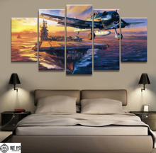 Home Decor Modular Canvas Picture 5 Piece Military USS Lexington CV-16 Painting Poster Wall For Home Canvas Painting Wholesale цена