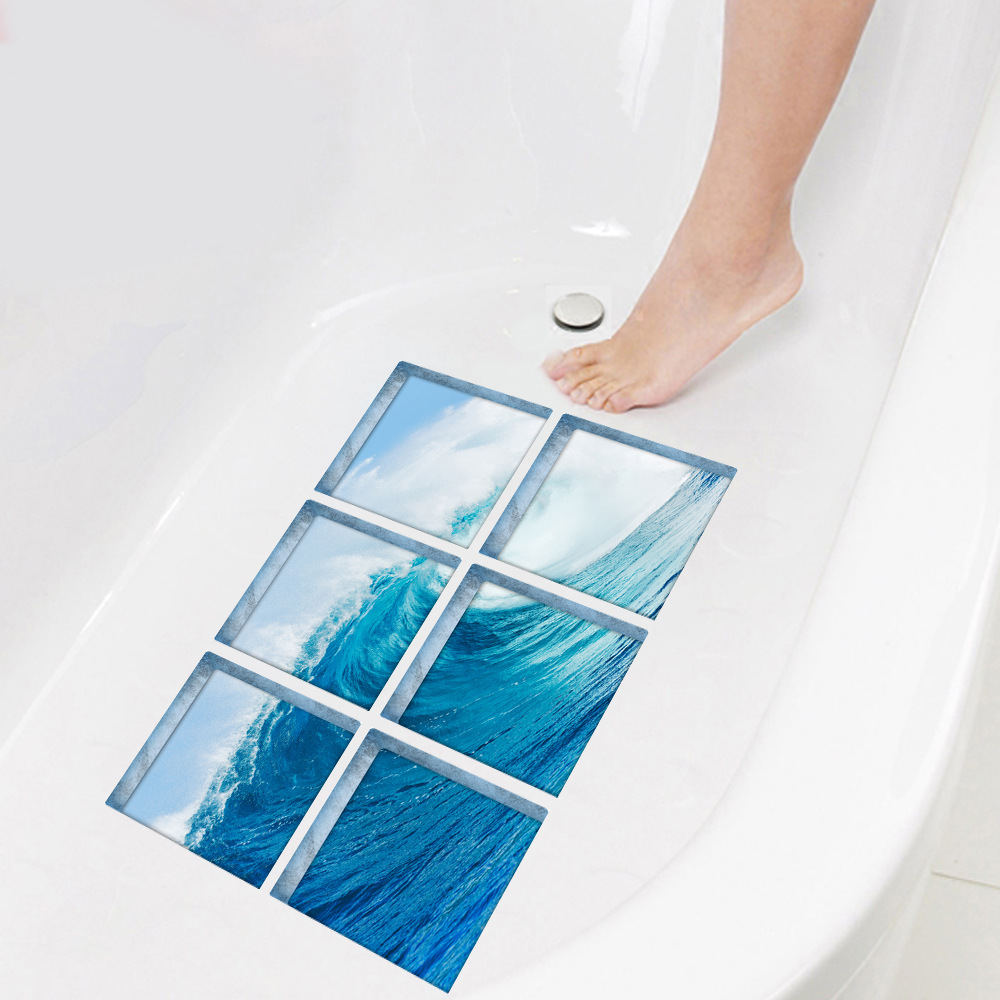 6pcs/set 3D Bathtub Stickers Waterproof Self adhesive Blue Waves Flooring Tile PVC Stickers Kitchen Rest room Dwelling Ornament Wall Stickers, Low-cost Wall Stickers, 6pcs/set 3D Bathtub Stickers Waterproof Self...
