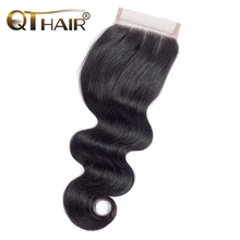 "QThair Peruvian Body Wave Lace Closure Three Part 4""x 4"" Remy Hair Closure Natural Color 100% Human Hair Free Shipping"