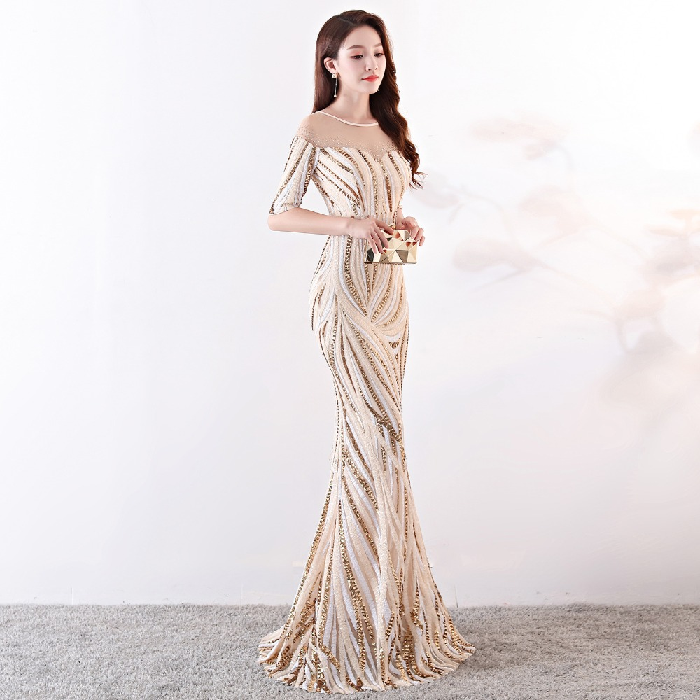 Elegant Crystal Beaded See Through Voile Shor Sleeve Mermaid Long Formal Dresses For Women 2018 Sexy Nightclub Wear Party Dress (12)