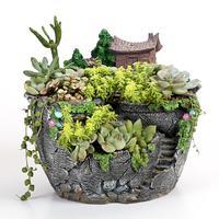 크리 에이 티브 수지 꽃 냄비 데스크탑 즙이 많은 식물 분재 홀더 화분 화분 홈 인테리어 장식 미니어처 풍경