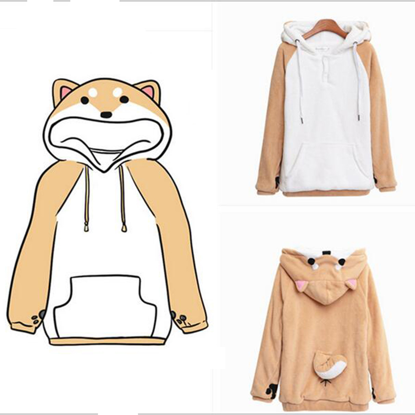Dog Lovers Hoodies Coat Dog Pet Doge Hoodies With Ears Tail Sweatshirt Shiba Hoodie