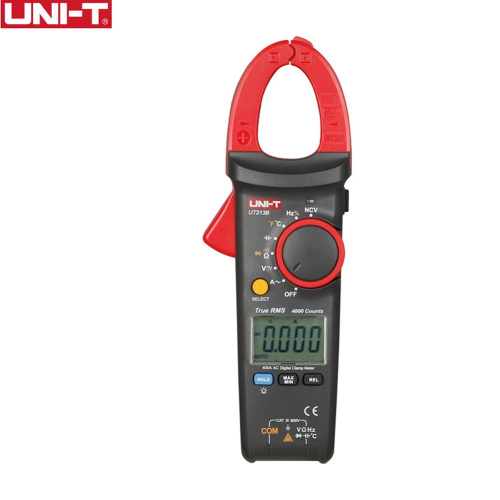 Digital Clamp Meters UNI-T UT213B 400A Voltage Resistance Capacitance Multimeter Temperature Auto Range multimetro Diode trueRMS uni t ut601 modern professional capacitance meters ohmmeters capacitor resistor w diode