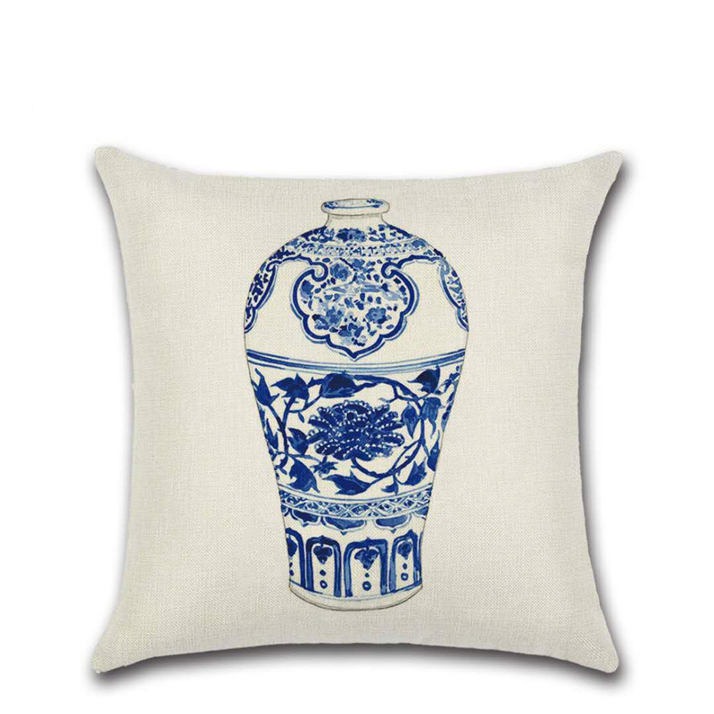 SBB Chinese Style Cushion Covers Blue and white Porcelain Printed Throw Pillows Cases Home Sofa Car seat Decor elegant 45x45cm in Cushion Cover from Home Garden