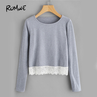 ROMWE Grey Casual Basic T Shirt 2017 Patchwork Lace Hem Women Long Sleeve Tops Fall Fashion