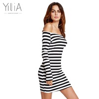 Yilia Off Shoulder Women Knitted Sweater Dresses Sexy Casual Stripe Black White Dress Vestidos Long Sleeves