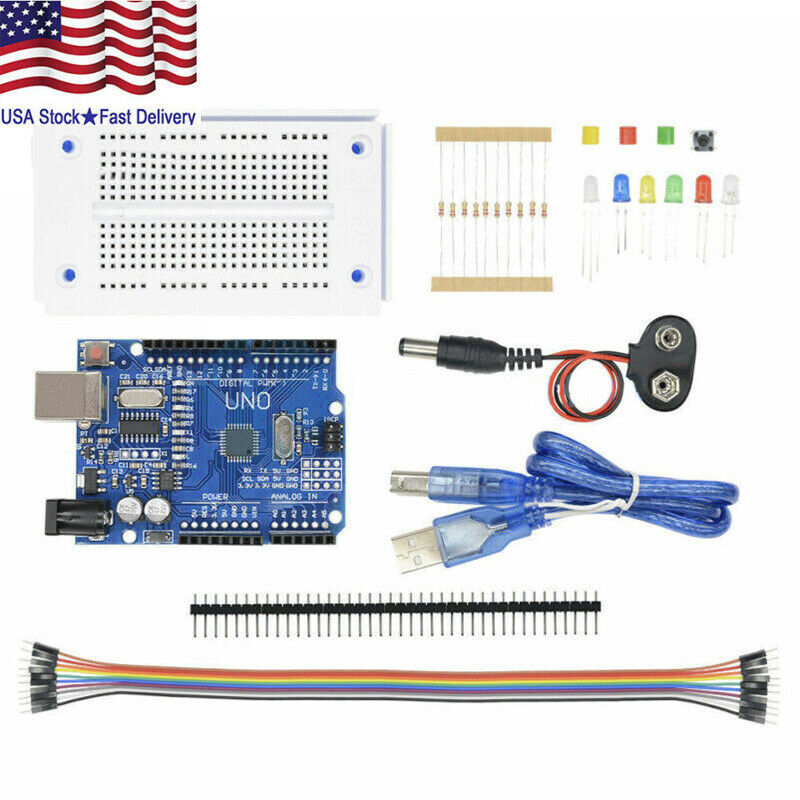 Arduino UNO R3 Starter Kit K Compatible Microcontroller ATMEGA328P Breadboard US