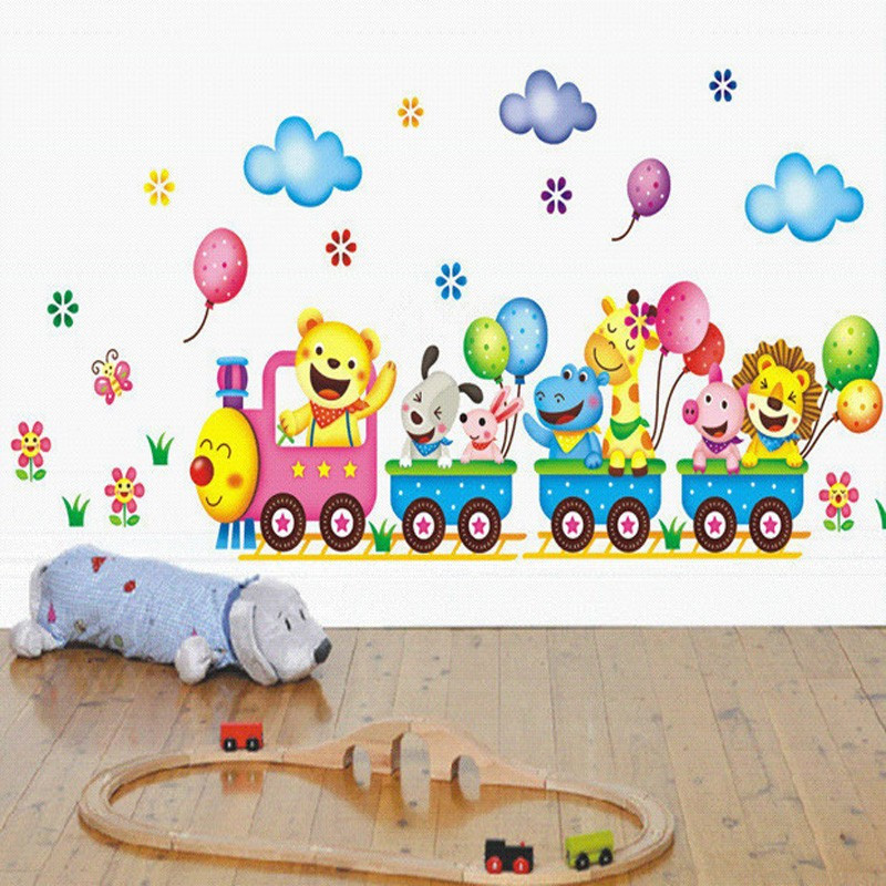 Cartoon Safari Animals On Train Removable Nursery Baby Kids Wall Stickers Vinyl Decal For Wall-surface Background Decor